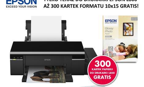 300 arkuszy papieru Epson Glossy Photo Paper 225g/m² gratis przy zakupie drukarki Epson L800