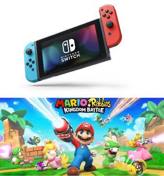 NINTENDO Switch + Kontroler Switch Czerwono-niebieski + Gra Mario & Rabbids