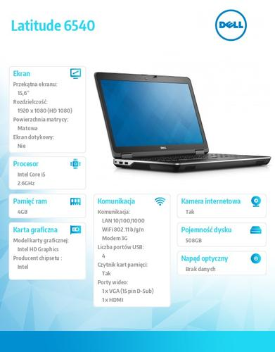 "Dell Latitude E6540 Windows 7 Pro PL i5-4310M/500+8GB SSHD/4GB/HD4600/6Cell/15"" FHD/KB_Backlit/WWAN/3YNBD"