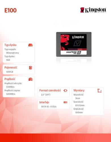 Kingston SSD E100 SERIES 400GB SATA3 2.5' Server