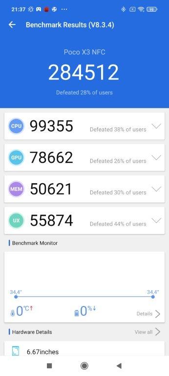 Wynik POCO X3 NFC w Antutu Benchmark