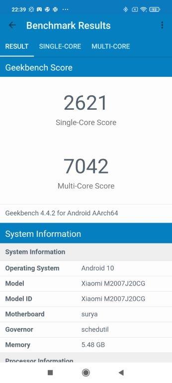 Wynik POCO X3 NFC w Geekbench 4