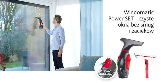 mężczyzna myjący okno myjką Vileda Windomatic Power Set II (155723)