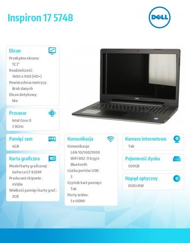 Dell Inspiron 5748 Win8.1 (64Bit) i3-4030U/500GB/4GBx1/GeForce 820M 2GB/8x DV