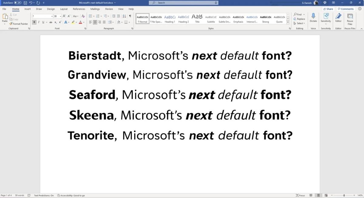 Jeden z fontów zastąpui Calibri jako domyślny w pakiecie Office