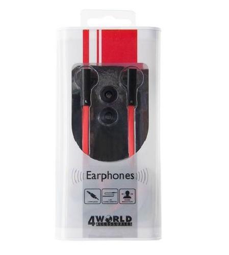 4World Słuchawki MP3 DuoColor Flat | jack 3.5mm | 1.2m | czerwono-czarne 08482