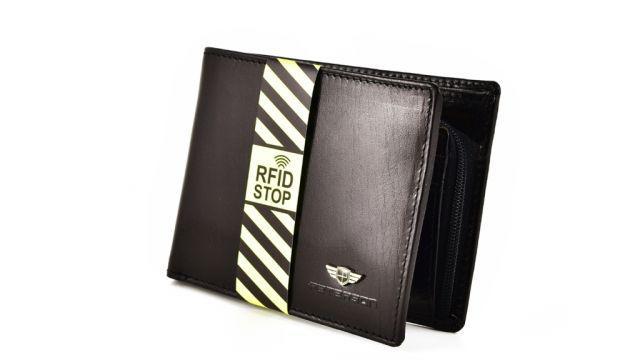 Peterson Skórzany 382 Czarny RFID STOP