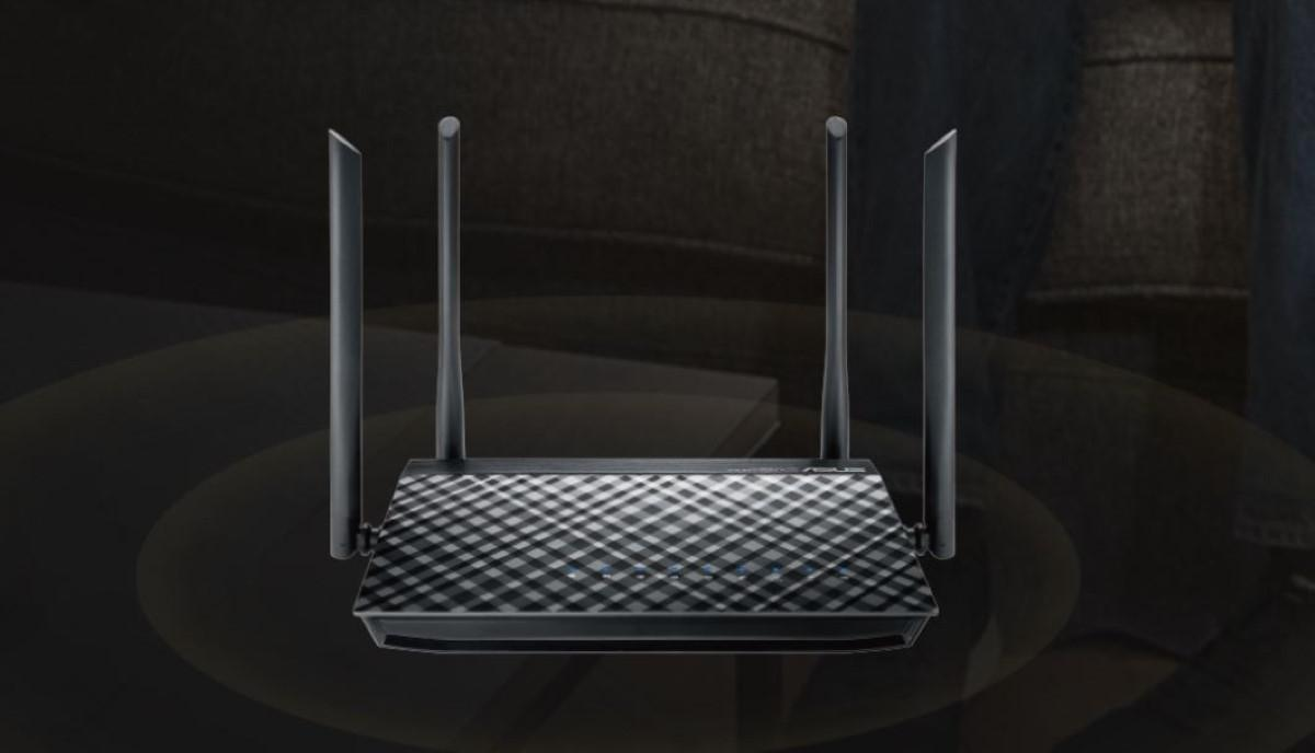 Asus RT-AC57U router na czarnym tle