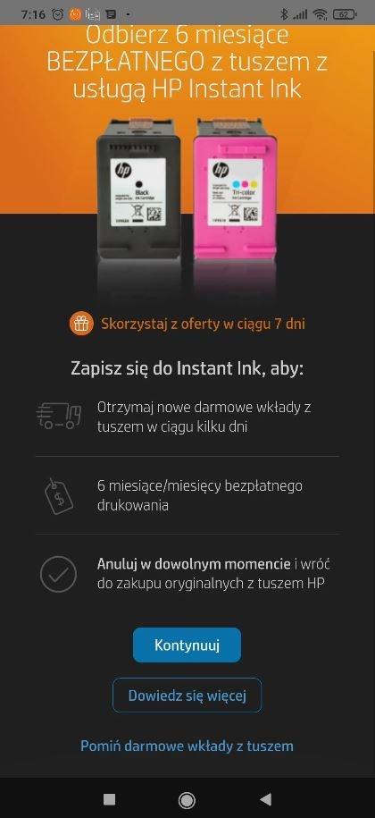 Darmowy pakiet HP Instant Ink