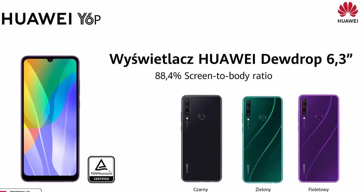 Huawei Y6P pojawi się w trzech wariantach kolorystycznych