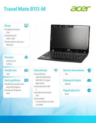 """Acer Travel Mate B113-M-33214G32akk i3-3217U/11.6"""" 1366x768/4GB/320GB/Intel HD/6c/WiFi/BT/Win7Prof (Win8Prof)"""