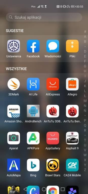 Lista aplikacji jest dostępna, ale można wybrać też ikony na pulpicie