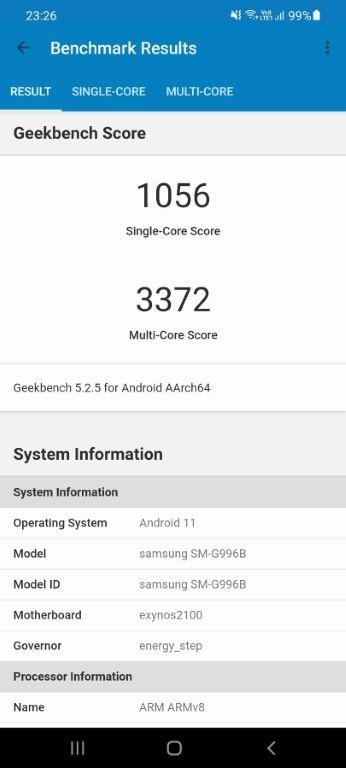 Wynik Samsunga Galaxy S21+ w Geekbench 5