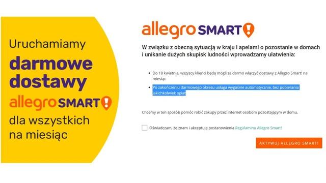Allegro Smart za darmo przez miesiąc