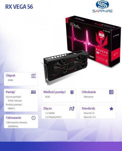 Sapphire RX VEGA 56 8GB OC HBM2 2048BIT HDMI/3DP (11276-02-40G)
