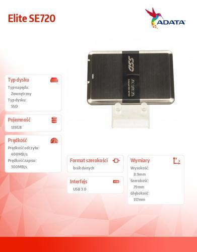 A-Data SSD Elite SE720 128GB USB3.0 - SSD zewnętrzny
