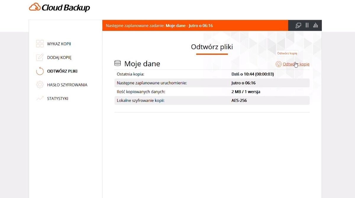 Odtwarzanie kopii w Cloud Backup w Nazwa.pl