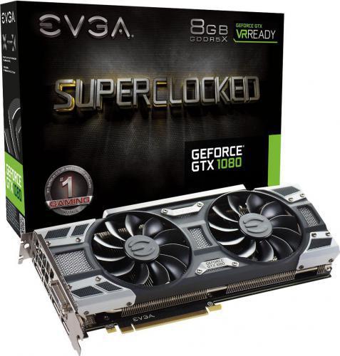 EVGA GeForce GTX1080 SC Gaming ACX 3.0 8GB GDDR5X (256 Bit) DVI, HDMI, 3xDP, BOX (08G-P4-6183-KR)