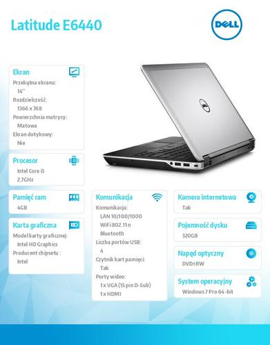 "Dell Latitude E6440 Win7Pro i5-4310M/320GB/4GB/BT 4.0/6-cell/Office 2013 Trial/DVD+/-RW/Integrated HD4600/KB-Backlit/14.0""HD/3Y NBD"