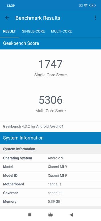 Wynik Xiaomi Mi 9 w Geekbench