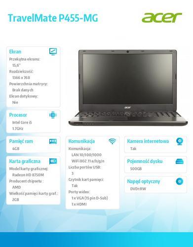 "Acer TravelMate P455-MG-54214G50MAKK Win7+Win8.1P i5-4210U/4GB/500GB/VGA 8750 2GB/DVDRW/15.6"""