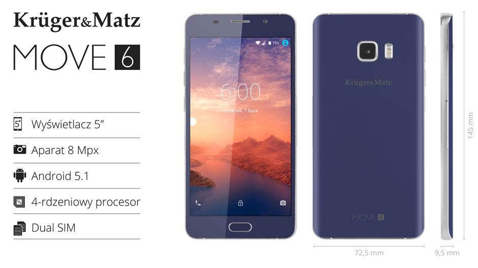 Kruger&Matz MOVE 6 Niebieski (KM0437-B)