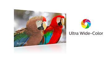Technologia Ultra Wide-Color zapewnia szerszą gamę kolorów i żywszy obraz