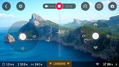 Ekran, który widzi pilot drona.