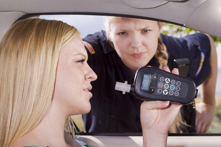 kontrola policji i pomiar alkomatem
