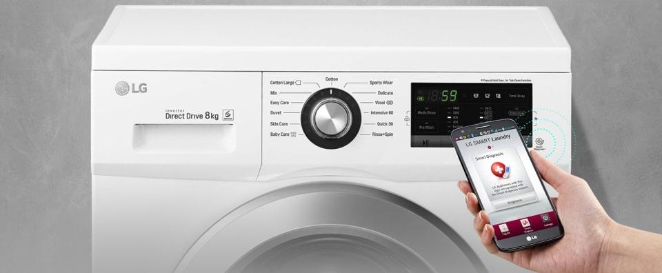 aplikacja mobilna w pralko-suszarce LG