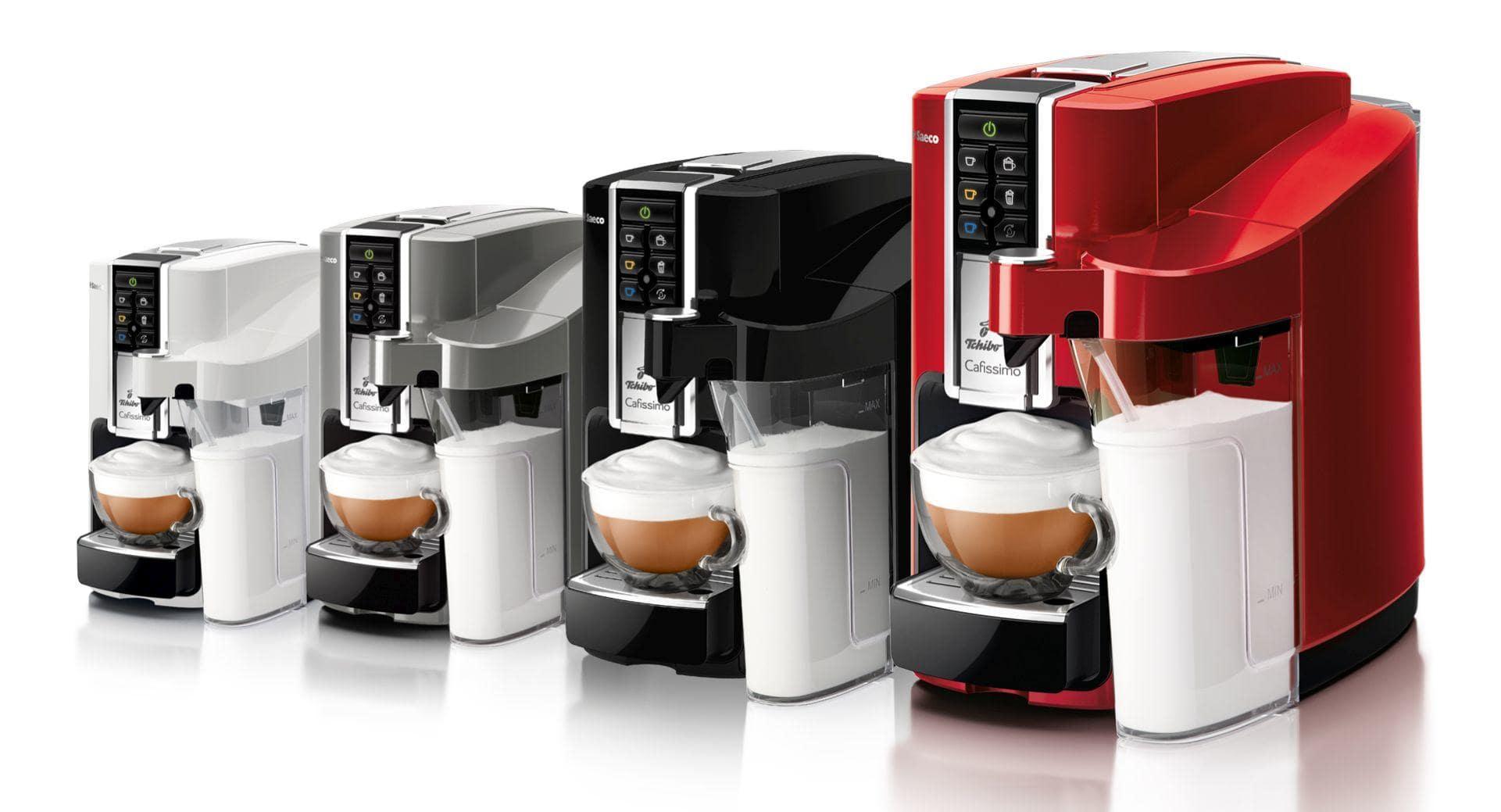 biały, srebrny, czarny i czerwony ekspres do kawy