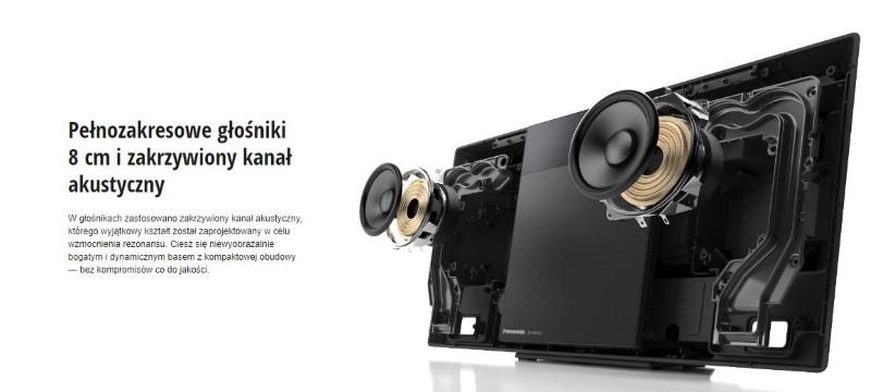Panasonic SC-HC410 posiada pełnozakresowe głośniki 8 cm