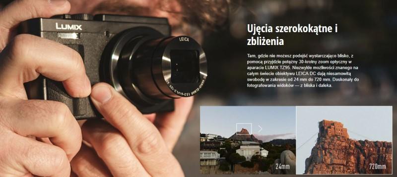Panasonic Lumix DC-TZ95 posiada szerokokątny obiektyw