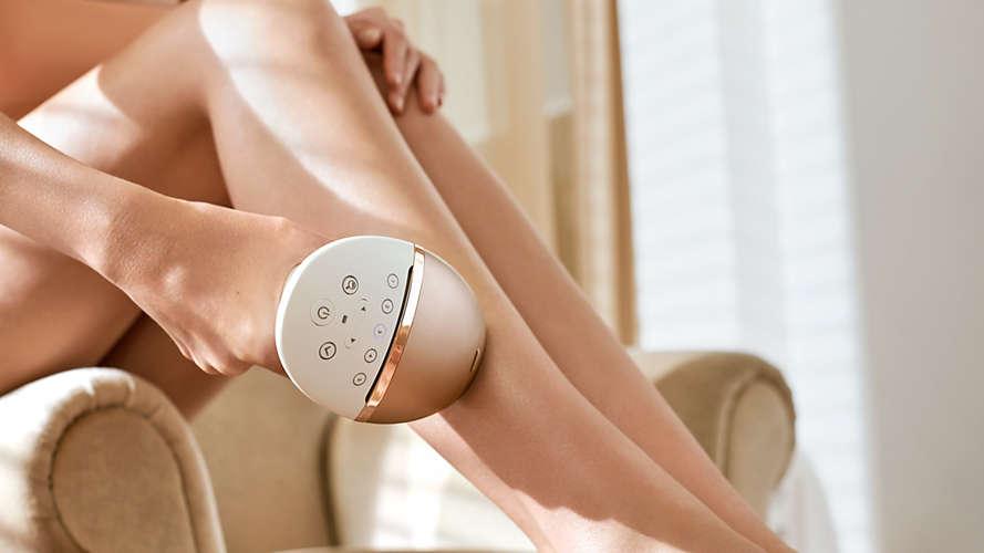 depilowanie nóg laserowym depilatorem Philips