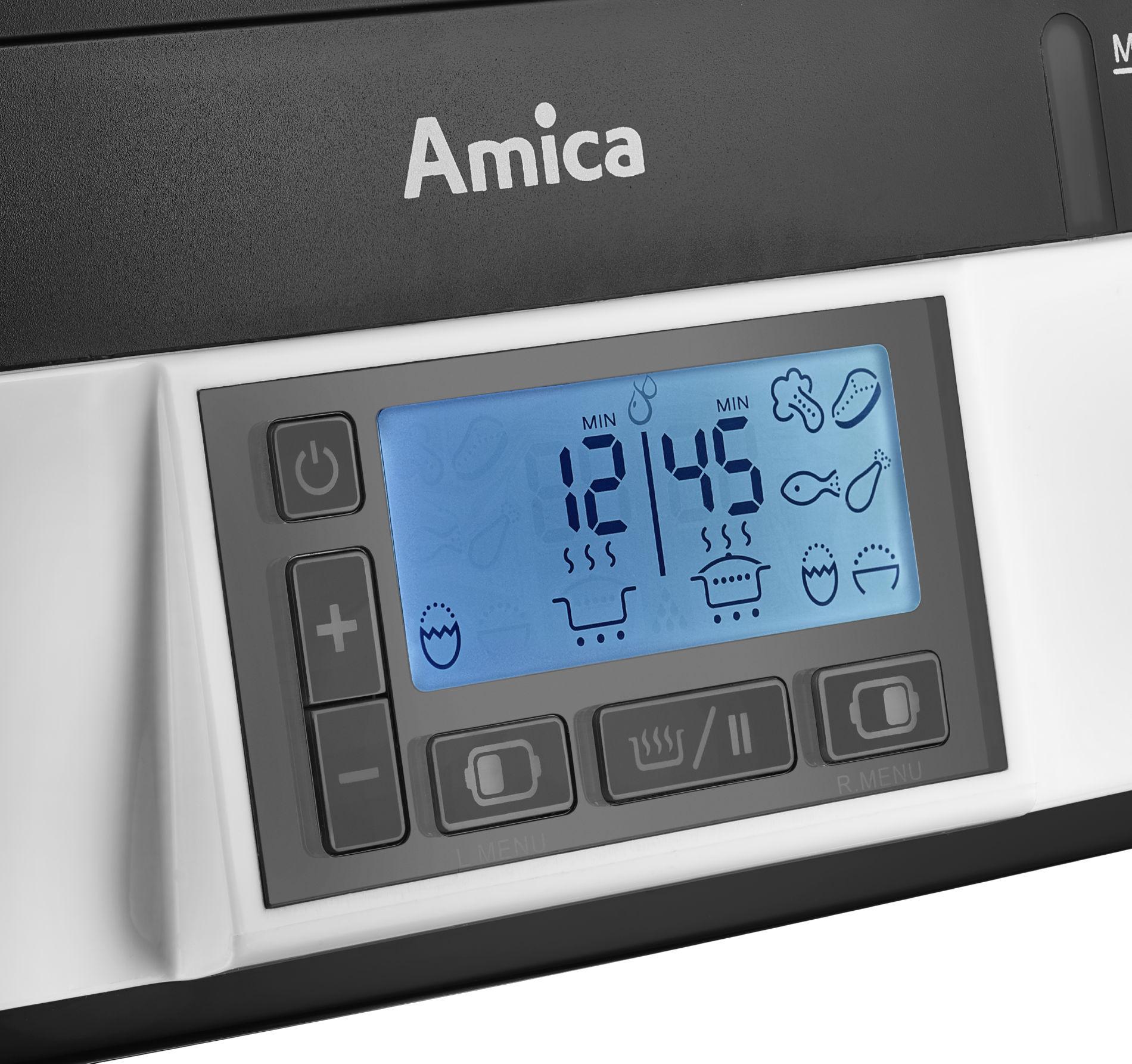 wyświetlacz LCD w parowarze marki Amica