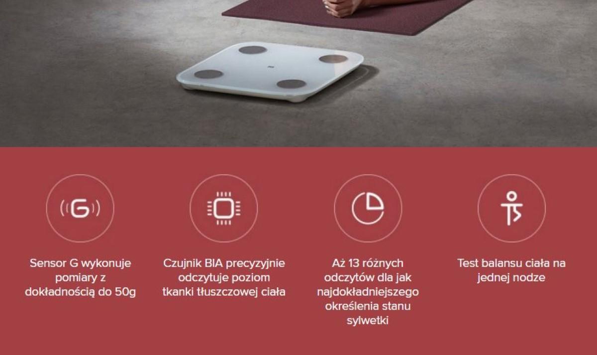 Grafika promocyjna firmy Xiaomi prezentująca możliwości wagi Composition Scale 2