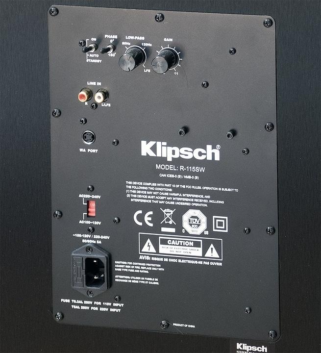 tył sobwoofera Klipsch R-115SW