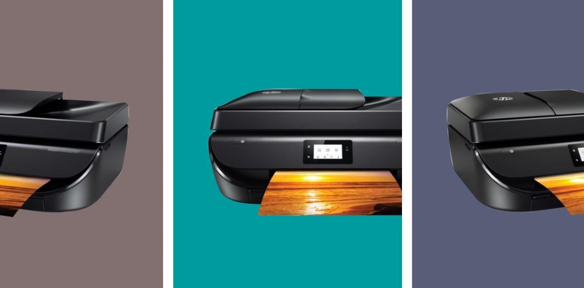 HP DeskJet Ink Advantage 5275 (M2U76C)  na tle trzech kolorów