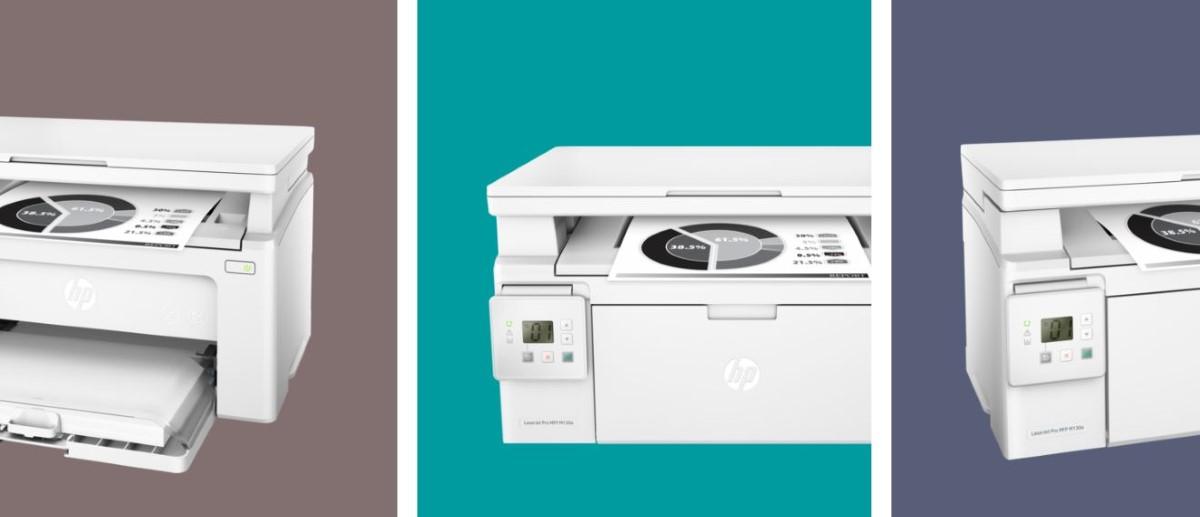 Trzy kolory na tle HP M130a LaserJet PRO