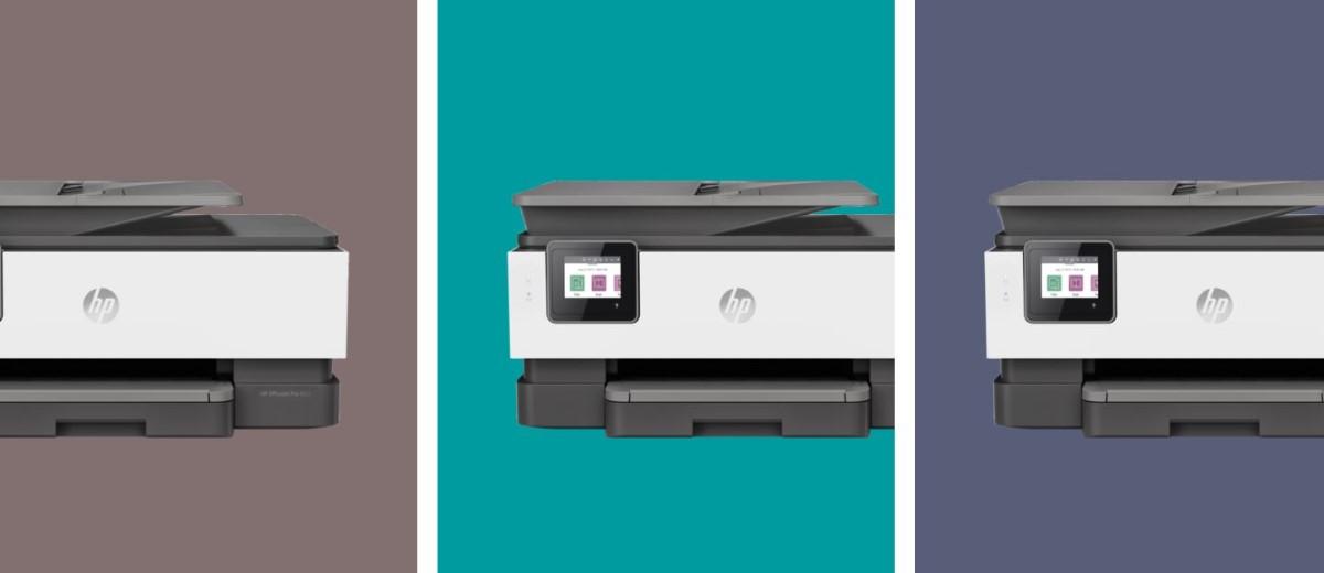 HP Officejet Pro 8023 (1KR64B)  na tle trzech kolorów