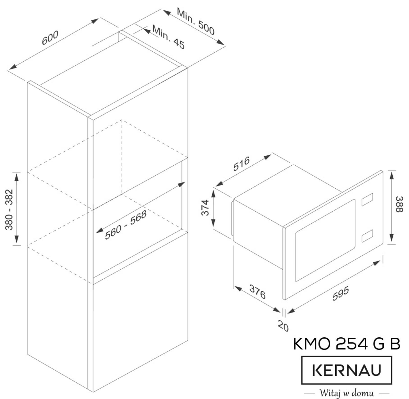 wymiary zabudowy kuchenki mikrofalowej Kernau