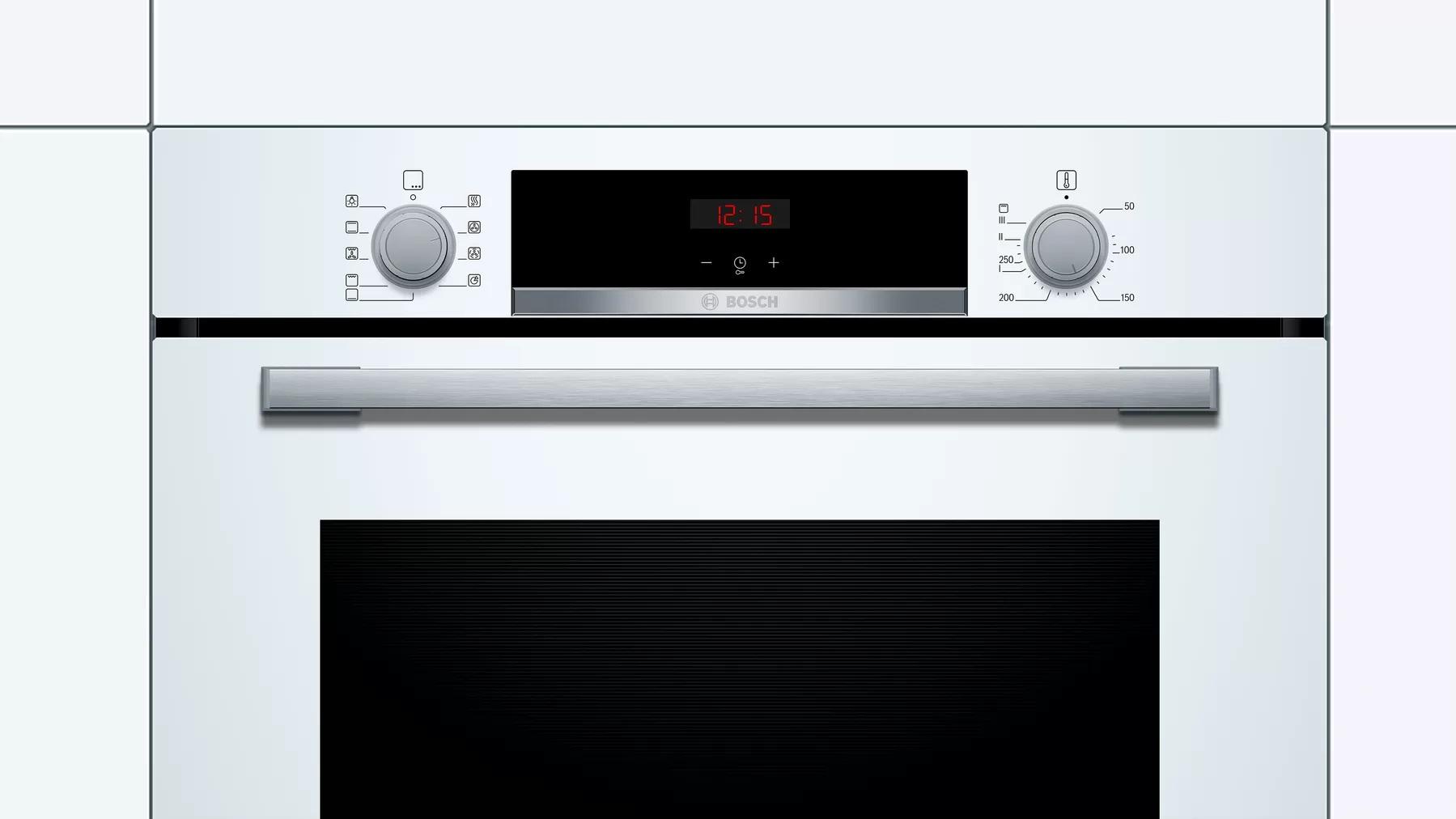 elementy sterujące białego piekarnika Bosch