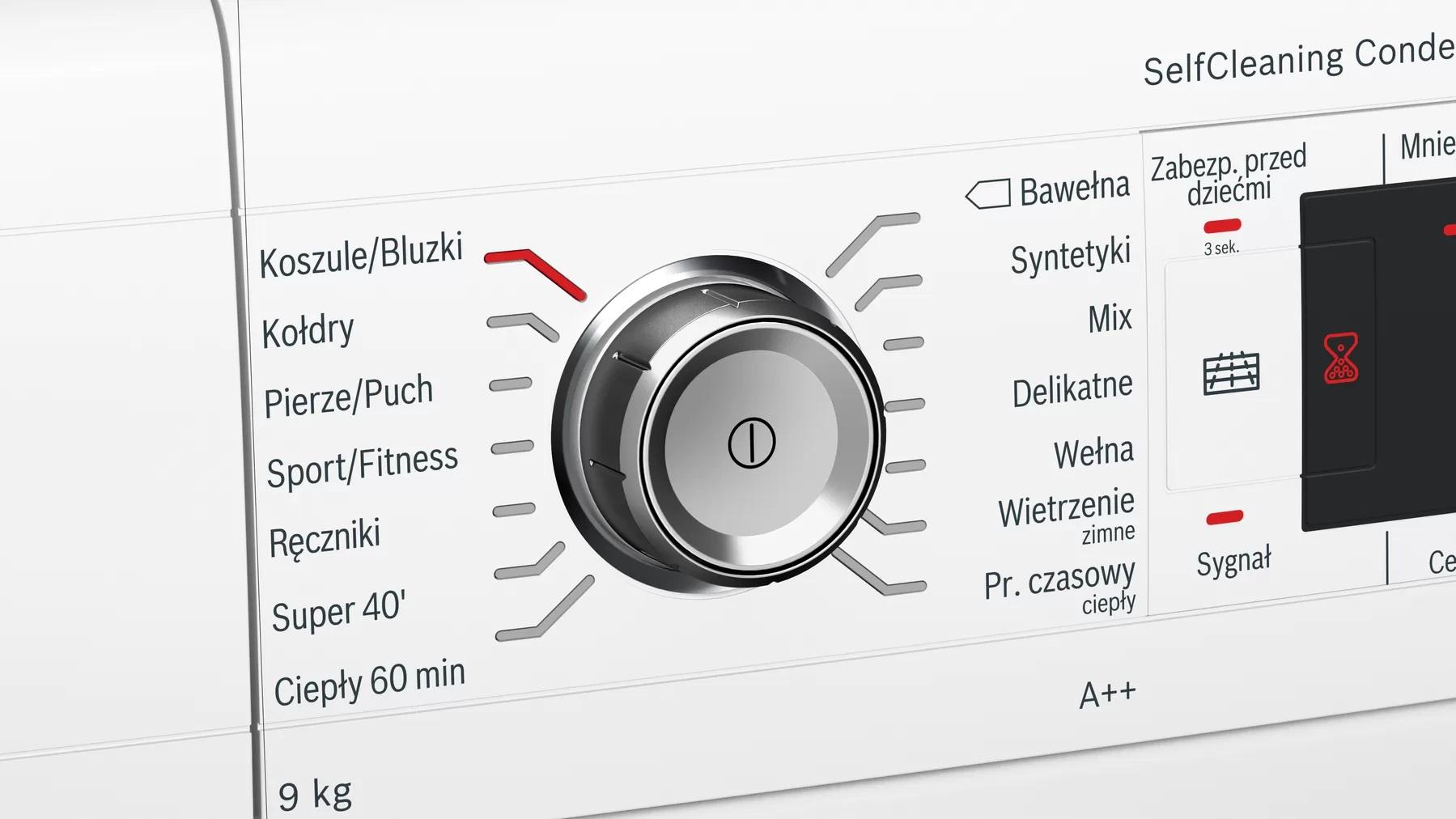 elementy sterujące suszarki do prania Bosch