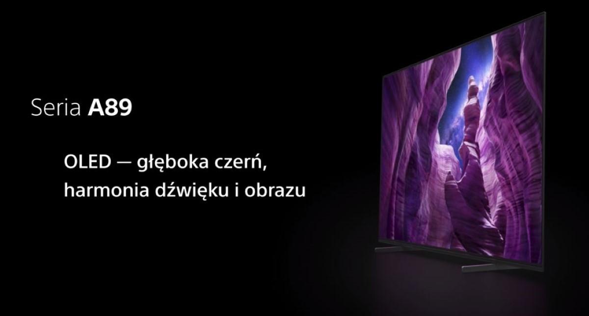 Sony Bravia KD-65A89 na czarnym tle