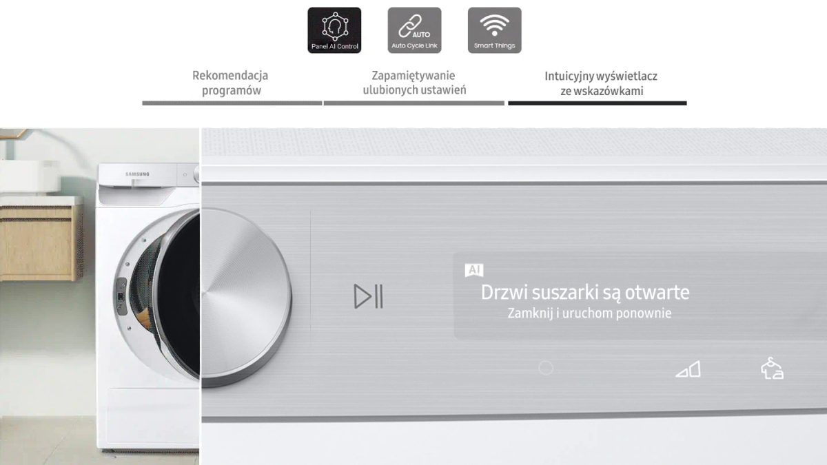 Panel AI Control w suszarce Samsung